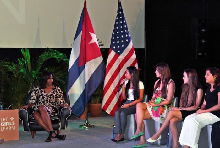 Michelle Obama Hears Straight from Cuban Students