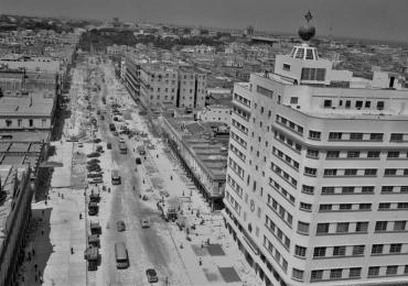 The corner of Carlos III and Belascoain under construction in the late 1940s.