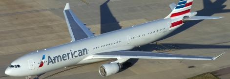 American Airlines on runway from above
