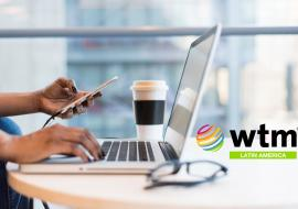 laptop and smartphone, WTM LatAm logo