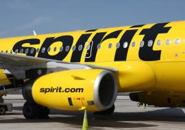 Spirit Airlines plane on tarmac