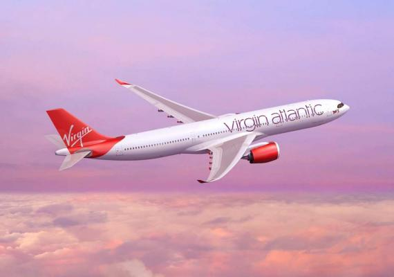 Virgin Atlantic plane in the air
