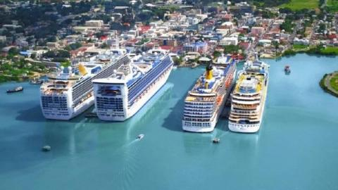 Antigua cruise terminal from the air