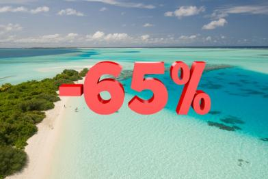 Caribbean beach and -65% in the middle